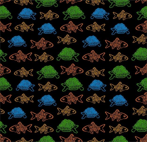 Nahtloses muster der fische und der schildkröte