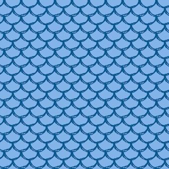 Nahtloses muster der fischschuppe. reptil, drachenhautstruktur. bebaubarer hintergrund für ihren stoff, textildesign, geschenkpapier, badebekleidung oder tapete. blauer meerjungfrauenschwanz mit fischschuppe unter wasser.