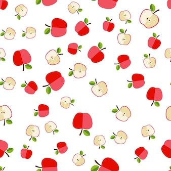 Nahtloses muster der flachen apple-ikonen