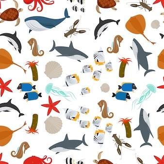 Nahtloses muster der flachen art der seetiere