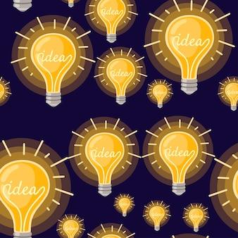 Nahtloses muster der flachen cartoon-glühlampe gelb retro-glühbirne mit idea-konzept-vektor-illustration auf dunklem hintergrund.