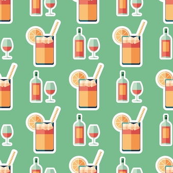 Nahtloses Muster der flachen Kunst des Weins und der Limonade.