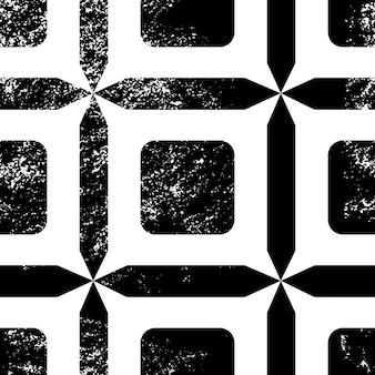 Nahtloses muster der fliese. geometrischer schwarzweiss-hintergrund. traditionelle wiederholungsverzierung mit grunge-textur. vektor monochromes muster. abstrakter vintage-druck für stoff, verpackung.