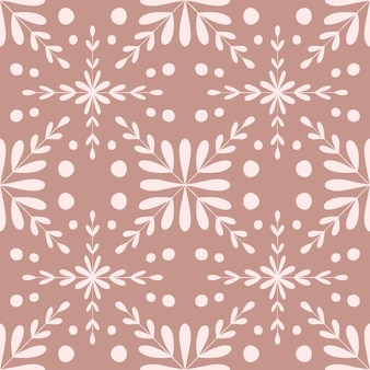 Nahtloses muster der fliese-portugal-blume. geometrischer hintergrund der staubigen rosafarbenen farbe. traditionelle azulejo-wiederholungsverzierung. vektor monochromes muster. abstrakter vintage-druck für stoff, verpackung. scrapbook-papier