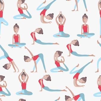 Nahtloses muster der frau in verschiedenen positionen des yoga