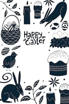 Nahtloses muster der frohen ostern. huhn, kaninchen, blumen, kuchen und eier hintergrund.