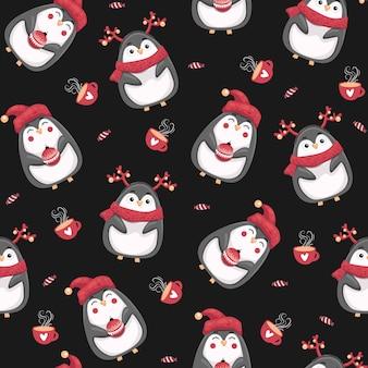 Nahtloses muster der frohen weihnachten mit pinguinen