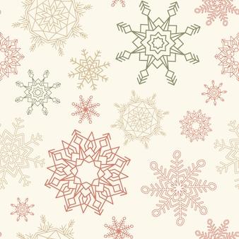 Nahtloses muster der frohen weihnachten und des guten rutsch ins neue jahr mit schneeflocken.
