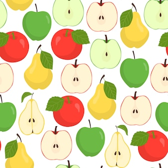 Nahtloses muster der frucht mit äpfeln und birnen