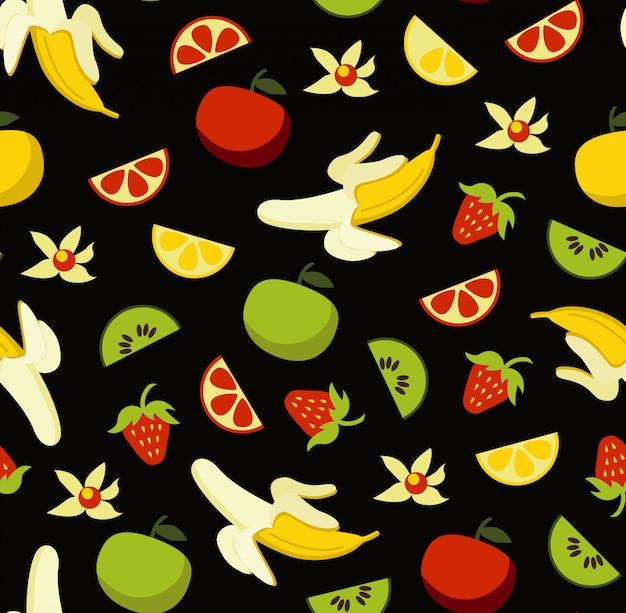Nahtloses muster der früchte mit lebensmittelelementclipart stellte auf schwarzen hintergrund ein