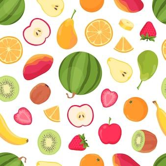 Nahtloses muster der früchte. tropische zitrusfrüchte und beeren, banane, orange, wassermelone, mango und erdbeere. sommer tropisches essen vektordruck. musternahtlose, frische zitrus- und zitronenillustration