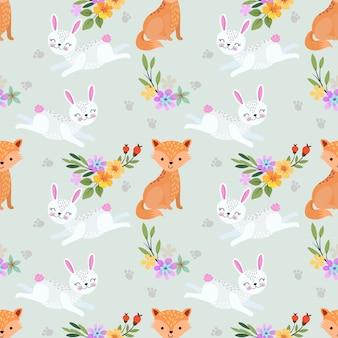 Nahtloses muster der füchse und der kaninchen.