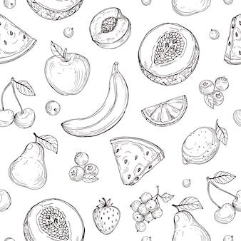 Nahtloses muster der gekritzelfrüchte. skizzieren sie die endlose textur der frischen bio-beeren