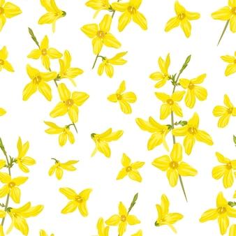 Nahtloses muster der gelben frühlingsblumen-forsythie.