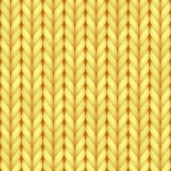 Nahtloses muster der gelben realistischen strickstruktur der kuscheligen wolle