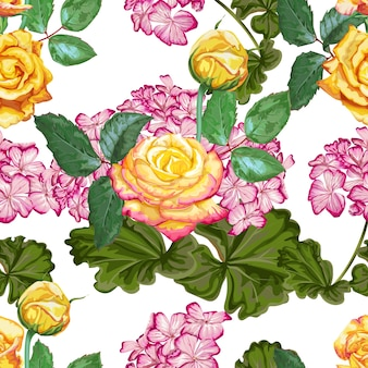 Nahtloses muster der gelben rose und der hortensie