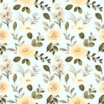 Nahtloses muster der gelben rosenblume mit aquarell