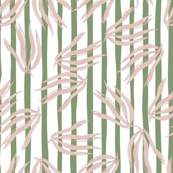 Nahtloses muster der gelegentlichen algen auf streifenhintergrund. meerespflanzen tapete. unterwasser-laub-hintergrund. design für stoff, textildruck, verpackung, abdeckung. vektor-illustration.