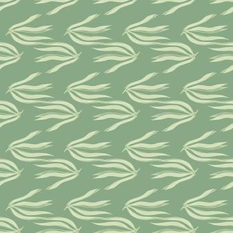 Nahtloses muster der geometrischen algen auf grünem hintergrund. meerespflanzen tapete. unterwasser-laub-hintergrund. design für stoff, textildruck, verpackung, abdeckung. vektor-illustration.