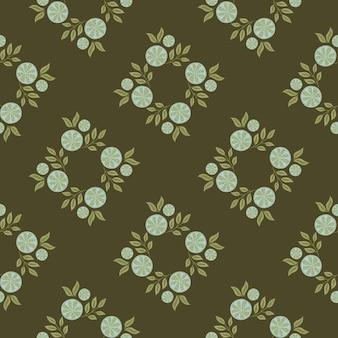 Nahtloses muster der geometrischen art mit blauem zitronenscheibenverzierung. dunkelgrün-olivfarbener hintergrund. abbildung auf lager. vektordesign für textilien, stoffe, geschenkpapier, tapeten.