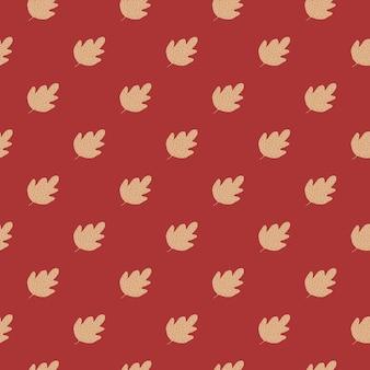 Nahtloses muster der geometrischen eiche auf rotem hintergrund.