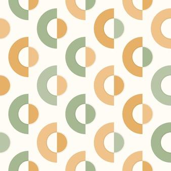 Nahtloses muster der geometrischen form des grünen und goldenen halbkreises, retro- tapete, abstrakter vektorhintergrund