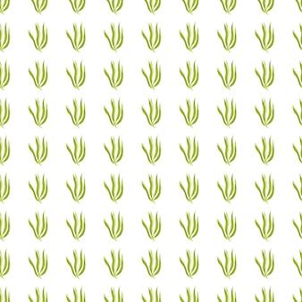 Nahtloses muster der geometrischen grünen algen lokalisiert auf weißem hintergrund. meerespflanzen tapete. unterwasser-laub-hintergrund. design für stoff, textildruck, verpackung, abdeckung. vektor-illustration.