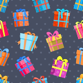 Nahtloses muster der geschenke oder der präsentkartons