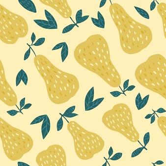 Nahtloses muster der geschmackvollen birnen auf gelbem hintergrund. lustiger entwurf für gewebe, textildruck, packpapier, kindertextil. vektor-illustration