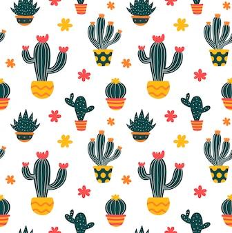 Nahtloses muster der gezeichneten art des kaktus hand