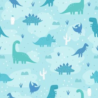 Nahtloses muster der gezeichneten karikatur der netten pastelldinosaurier hand