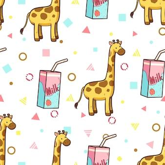 Nahtloses muster der giraffen- und erdbeermilch