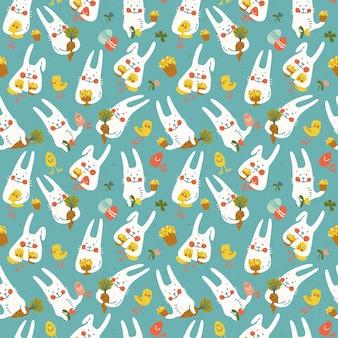 Nahtloses muster der glücklichen osterblau mit niedlichen kaninchenkarottenhühnerblumen und eiern kritzeln vektorillustration