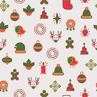 Nahtloses muster der glücklichen weihnachtssymbole mit verschiedenen arten von geschenken und stechpalmenspielzeug mit bunter linie