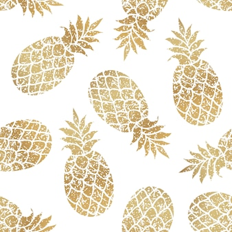 Nahtloses muster der goldenen ananas