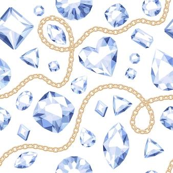 Nahtloses muster der goldenen ketten und der weißen edelsteine auf weißem hintergrund. abbildung mit verschiedenen diamanten. gut für deckblatt banner poster luxus.