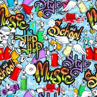 Nahtloses muster der graffiti-charaktere