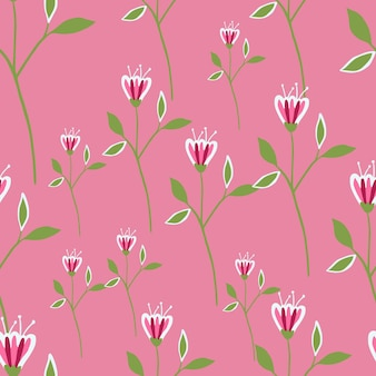 Nahtloses muster der grafischen wildblumen auf rosa hintergrund.
