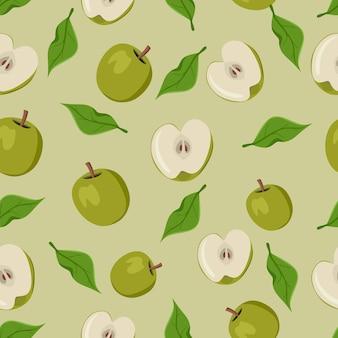 Nahtloses muster der grünen apfelfrucht