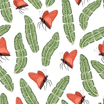 Nahtloses muster der grünen bananenblätter mit schmetterlingen. exotische dschungeltapete