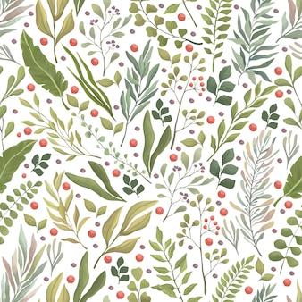 Nahtloses muster der grünen blätter, zweige und der roten beeren. flache kulisse für sommer- oder herbstlaub.