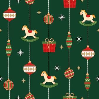 Nahtloses muster der hängenden weihnachtsverzierung