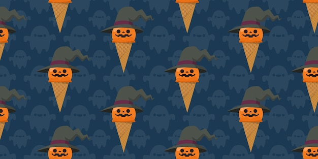 Nahtloses muster der halloween-eiscreme.