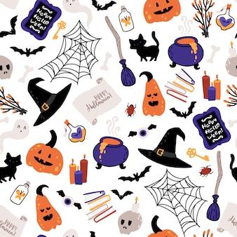 Nahtloses muster der halloween-hexe.