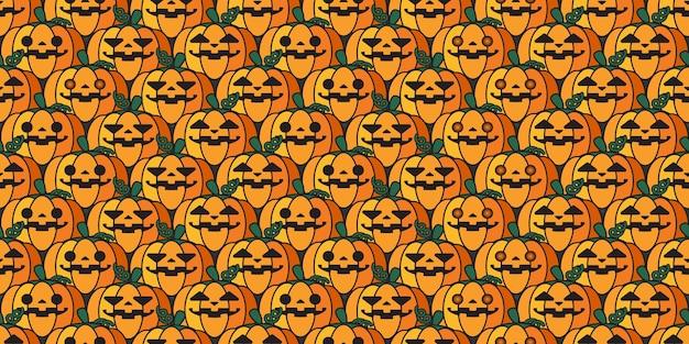 Nahtloses muster der halloween-jack o-laternenkürbiswiederholung.