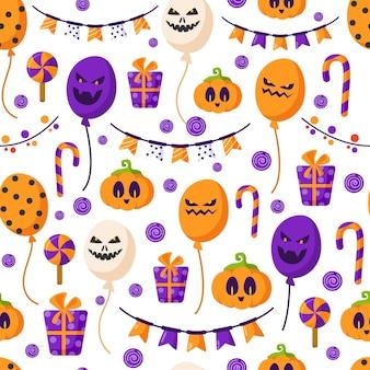 Nahtloses muster der halloween-karikatur - kürbislaterne, gruselige luftballons, girlande, geschenkbox, zuckerstange