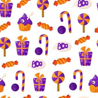 Nahtloses muster der halloween-karikatur mit zuckerstange, lutscher, süßigkeit, geschenkbox
