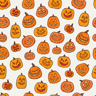 Nahtloses muster der halloween-kürbisse