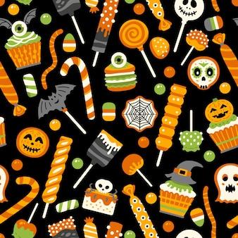 Nahtloses muster der halloween-süßigkeiten mit bonbons