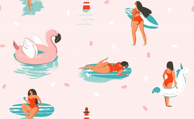 Nahtloses muster der hand gezeichneten abstrakten niedlichen sommerzeitkarikaturillustrationen des stocks mit einhorn- und flamingogummiringen und delfinen auf rosa hintergrund.